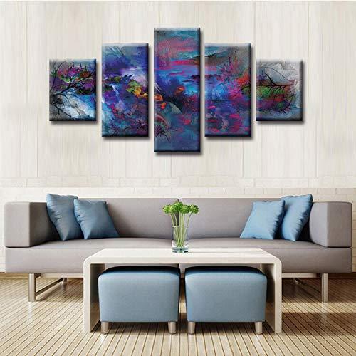 adgkitb canvas 5 Piezas Grandes Cuadros de Pintura en Lienzo Serie Abstracta Moderna Cuadros de Pared para Sala de Estar Imprimir Pinturas Decoración para el hogar Lienzo