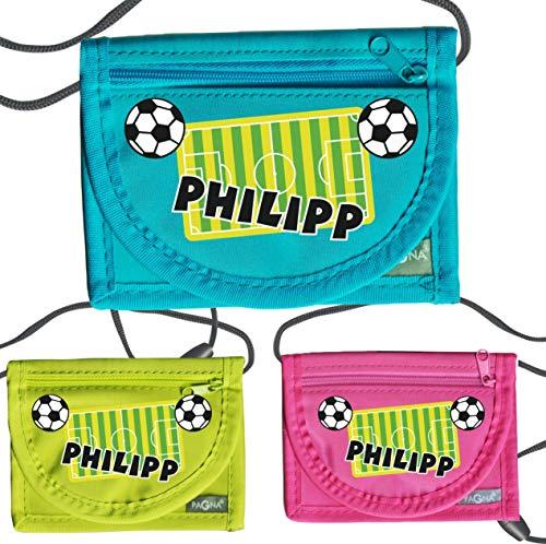 MissRompy | Brustbeutel Fußball mit Name (841) und Sicherheitsverschluss Jungen Umhängebeutel breast bag Portemonnaie
