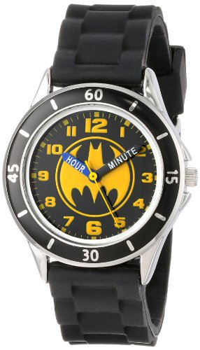 Batman Kids' Analog Watch with Silver-Tone Casing, Black Bezel, Black Strap - Official Yellow/Black Batman Logo on The Dial, Time-Teacher Watch, Safe for Children - Model: BAT9152
