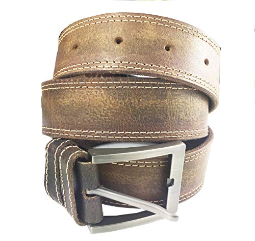 Belts for Men with Removable Buckle - Handmade Full Grain 1.5 Inch Wide Heavy Duty Stitched or Non-Stitched Buffalo Leather Jeans Belt (Brown4, 40)