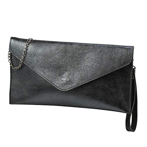 SH Leder Echtleder Clutch Umhängetasche kleine Tasche Abendtasche in Wildleder oder Metallic 31,5x16,5cm Palma G299 (Anthrazit Metallic)