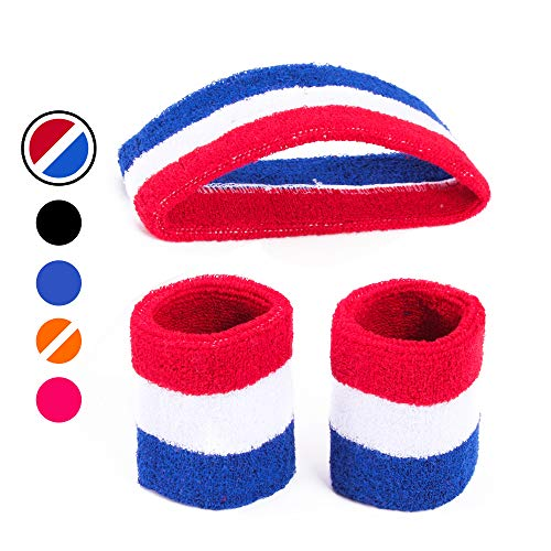 AFLGO Sweatband Set for Sports, Workout, Training & Exercise | 1 Headband & 2 Wristbands Cotton to Pair with Your Athletic Costume Apparel |Comfy & Durable Sport Accessories for Men & Women - Rd/Wt/Bl