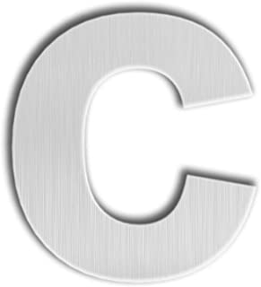 QT Modern House Letter - 4.5 Inch - Brushed Stainless Steel (Letter c), Floating Appearance, Easy to Install and Made of Solid 304