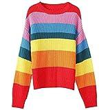 Suéteres Y Jerséis para Mujer Suéter de Otoño Jersey de Rayas Arcoiris Blusa Suéter de Cuello Redondo Delgado, O&YQ, rojo, Talla única