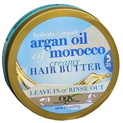 Ogx Argan Oil Of Morocco Creamy Hair Butter 6.6 Ounce Jar (195ml) (3 Pack)