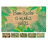 LucaHome - Felpudo Coco Natural 40x70 Antideslizante, Felpudo de Coco Bemvindo a minha Selva, Felpudo Absorbente Entrada casa, Ideal para Exterior o Interior