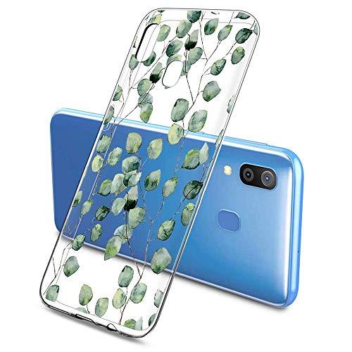 Suhctup Compatible con Samsung Galaxy M30/A40S Funda Flor de TPU Transparente Diseño de Flores Patrón Cárcasa Ultra Fina Suave con Dibujos Claro Silicona Antigolpes Proteccion Caso(A4)