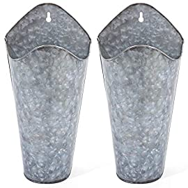 Mkono Galvanized Metal Wall Planter, Farmhouse Style Hanging Wall Vase Planters for Succulents or Herbs,Wall Pocket Planters, Flowers Holder Country Rustic Home Wall Decor Set of 2, Silver 6 This is a unique set of two galvanized metal wall planters,match succulents or any artificial greenery. Adds rustic and country sense for household style, ideal for home decoration to display plants. Helps to beautify and purify your house, perfect addition for livingroom, bedroom, bathroom, dining room, kitchen and any occasion. Galvanized Metal Wall Plant Container features an antique finish which can be hung on the wall above headboard with a picture or clock in between to display for the world to see, but also can use on the desk. This gorgeous piece is perfect for holding faux flowers,fake lavender,eucalyptus plants, cotton stems and other decorative pieces. Hanging wall vase planters is easy to install.Comes with all necessary hardware,Just hang on the wall directly. Package included 2 set metal planters and 3 seamless nails. Perfect decorations gift for birthday, anniversary, holidays, Mother,s Day, Fater,s Day ,Wedding,and any other occasion.