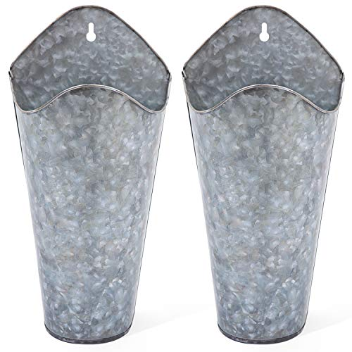Mkono Galvanized Metal Wall Planter, Farmhouse Style Hanging Wall Vase Planters for Succulents or Herbs,Wall Pocket Planters, Flowers Holder Country Rustic Home Wall Decor Set of 2, Silver