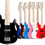 WINZZ 30 Inches Real Kids Electric Guitar with Beginner Kit, Right Handed, Black