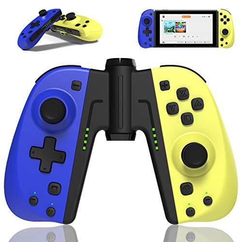 Joycon Replacement Controller for Nintendo Switch/Switch Lite w/Grip Connector Stand- L/R Joy Pad Remote- Macros, Turbo, Motion Control & Dual Shock- Wired/Wireless Switch Controller- Yellow & Blue