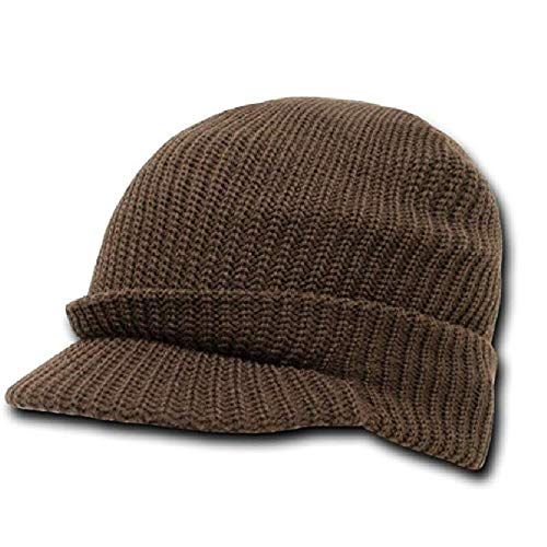 DECKY Solid Brown Visor Hat Radar Knit Billed Beanie Stocking Cap Hat Winter Military GI Tactical