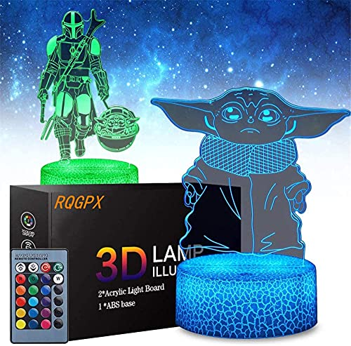 3D-Illusionslichter, Mandalorianisches Baby-Yoda-Spielplatz-Lichter, 16 Farben, wechselnde Schreibtischlampe für Kinder, Weihnachten, Geburtstag, Geschenke, Heimdekoration