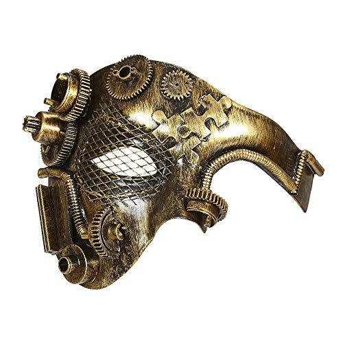 Widmann 09647 – Halbmaske Steampunk, Kupferfarben, Gesichtsmaske, Larve, Maskenball, Steampunk, Motto Party, Karneval, Halloween