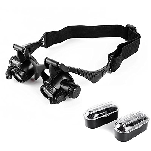 Verrekijker Bril kop-dragen Vergrootglas 10X 15X 20X 25X Led Multi-Oculair Schakelaar Horloge Instrument Reparatie