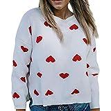 ZCMWY Frauen-Strickjacke-Herz-Form-Drucken-Oansatz Lösen Gestrickte Strickjacken-Weiß-Übergroße Strickjacke Pullover S