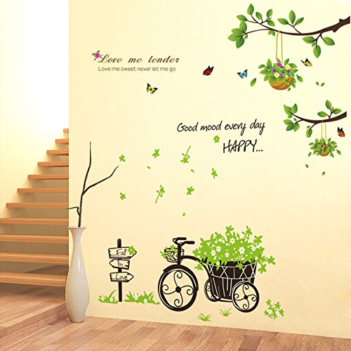 Muurstickers creatieve slaapkamer woonkamer veranda decoratie warm klein vers behang zelfklevende boom stickers