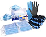 Personal Protection Equipment Kit - 50 Disposable Masks, Hand Sanitizer Gel, 2-Pack, 2 oz Bottles, 62% Ethyl Alcohol, 10 Antibacterial Wipes, 10 Nitrile Gloves