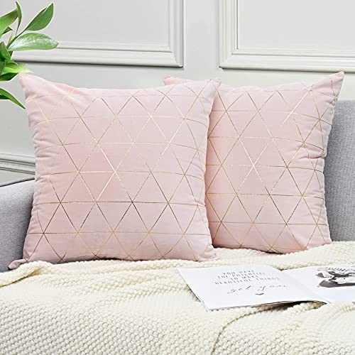 ASPMIZ Pink Throw Pillow Covers, Gold Lines Decorative Pillowcase, Blush Soft Velvet Pillows Cushion Covers for Bed BedroomCouch Sofa Car, Pack of 2, Square 18 x 18 Inch