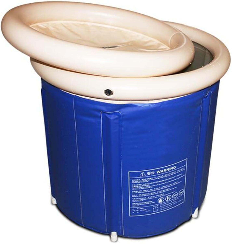 YUJIE Adult Folding Stand Bathtub Portable Bathtub Household Folding Bathtub Large Full Body Inflatable Plastic Bathtub Stamped Inflatable Bathtub Suitable for Garden Outdoors Extra Thick PVC Cylindrical bluee