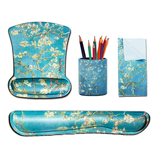 Cheliz Keyboard Wrist Rest Pad and Mouse Wrist Rest Support Mouse Pad,Matching Pen Holder and Cleaning Cloth for Glasses(4-Peach Blossom)