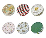 TooGet Elegant Tinplate Empty Tins, Shabby Chic Tins for DIY Candles, Dry Storage, Spices, Tea, Candy, Party Favors, and Gifts - Random Color(Round 6-Pack)