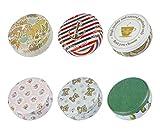 TooGet Elegante Metall-Weißblech Leeren Dosen, Home Küche Lagerbehälter, Shabby Chic Mini-Boxen für DIY Kerzen, Trockenlagerung, Gewürze, Tee, Süßigkeiten, Partyartikel und Geschenke (Runden 6 Stück)