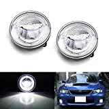 iJDMTOY Xenon White LED Daytime Running Light Fog Lamps Compatible With 08-14 Subaru Impreza WRX/STi & 09-13 Forester, (6) CREE XP-G LED Lights as Halo DRL & (1) 10W CREE XB-D LED Light as Fog Light