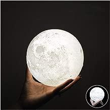 HaloVa Night Light PLDM 3D Printing Moon Lamp Lunar USB Charging Night Light, Tap Wake Up Three Colors, Diameter 5.9 inch