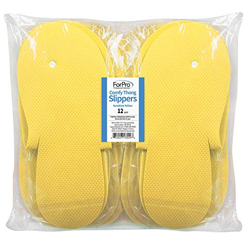 ForPro Comfy Thong Slippers Sunshine Yellow, Disposable Foam Pedicure Slippers for Nail Salons and Spas, 12-Pair