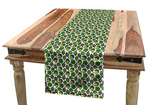 ABAKUHAUS Artisjok Tafelloper, Koken Voedsel eet, Eetkamer Keuken Rechthoekige Loper, 40 x 225 cm, Geel en Fern Green