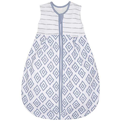 Premium Baby Schlafsack Sommer, Bequem & Atmungsaktiv, 100% Bio-Baumwolle, OEKO-TEX Zertifiziert, Flauschig Weich, Bewegungsfreiheit, 1.0 TOG von emma & noah (Rauten Blau, 110cm (104/116))