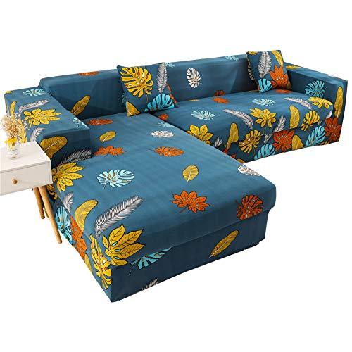 Exuberanter Funda De Sofá Home Chaise Longue Brazo Izquierdo, 2 Pcs Elástico Cubre Sofa Protector para En Forma L Acolchado Silla En Tejido Estampado Sillón Antideslizante Cubierta De Muebles