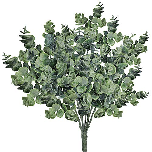 """Supla Pack of 3 Faux Eucalyptus Leaves Spray Artificial Greenery Stems Fake Silver Dollar Eucalyptus Branches Plants in Dusty Green 14.6"""" Tall x 10"""" Wide for Greenery Wedding Jungle Theme Party"""