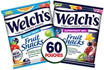 Welch's Fruit Snacks, Mixed Fruit & Superfruit Bulk Variety Pack, Gluten Free, 0.9 oz Individual Single Serve Bags (Pack of 60)