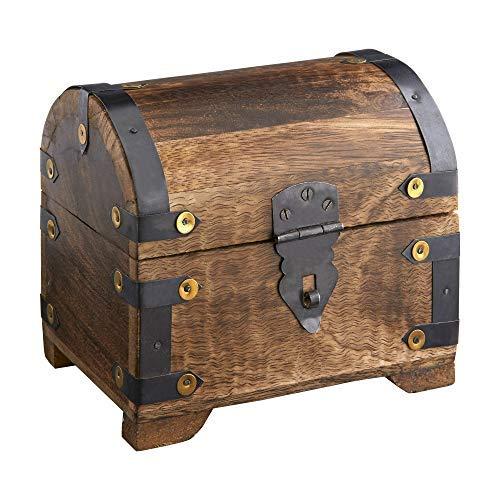 Casa Vivente Große Schatzkiste aus dunklem Holz, Schmuckkästchen und Aufbewahrungsbox, Verpackung für Geldgeschenke