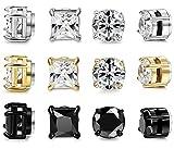 FIBO STEEL 6 Pairs Stainless Steel Magnetic Stud Earring for Men Women CZ Magnet Non Pierced Clip On Earrings Set 6mm