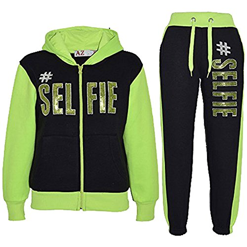 A2Z 4 Kids® Kinder Mädchen Jungen Designer - T.S #SELFIE Black & Neon Green 9-10