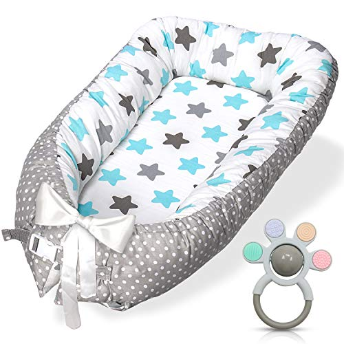NEMESH Baby Lounger & Baby Nest Sharing Co Sleeping Baby Bassinet 100% Soft Cotton Co sleeping Baby Bed Premium Quality and Bigger Size 0-24 Breathable Hypoallergenic Portable Crib Bonus Teething Ring