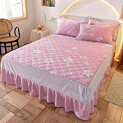 Liyingying Cotton Twill Bed Skirt Mattress Cover Lace Pastoral Princess Style, The Best Gift for Male and Female Friends, Comfortable Bed Sheets-I_150200cm