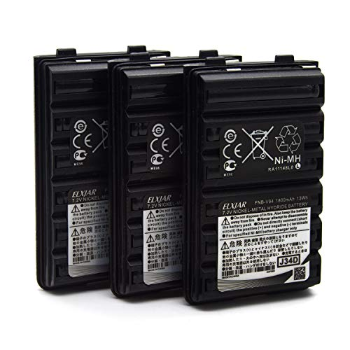 (3-Pack) 7.2V 1800mAh Ni-MH Battery Pack Compatible for Yaesu Vertex FNB-V94 FNB-83 FT-60R FNB-V57 FNB-64 VX-410 VX-420 VX-420A VX-150 VX-160 VX-170 VX-180 FT-270 Two Way Radio