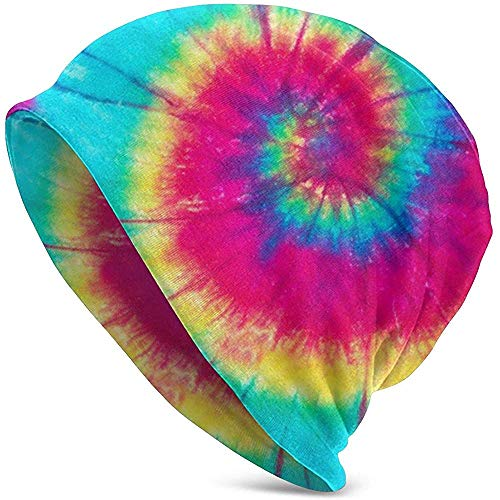 Gorro con Estampado de Tinte en Espiral con Forma de Arcoiris - Unisex Cálido y Liso con puños y Calavera Holgada