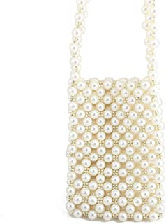 2019 New Retro Beaded Bag Women's One-Shoulder Versatile Mini Mobile Phone Bag Pearl Evening Bag(FM),White