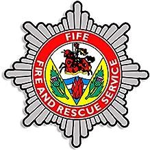 American Vinyl Fife Fire Rescue Service Crest Shaped Sticker (Decal Logo UK Insignia Firefighter)