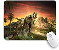 ECOMAOMI 可愛いマウスパッド ジャングル恐竜 滑り止めゴムバッキングマウスパッドノートブックコンピュータマウスマット