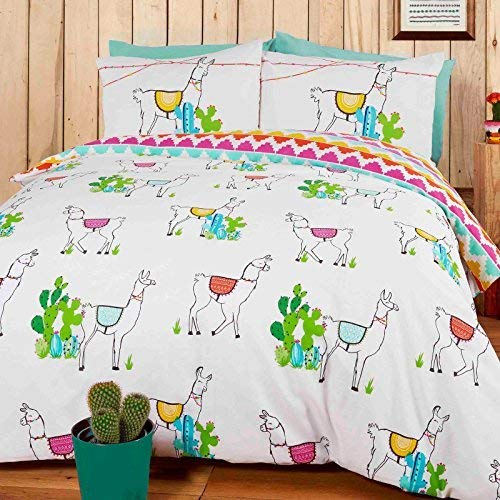 Rapport Happy Llamas Reversible Duvet Set, Polyester-Cotton, Multi-Colour, 200 x 200 x 1 cm