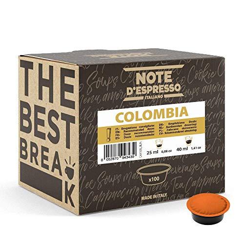 Note d\'Espresso - Cápsulas de café para las cafeteras Lavazza y A Modo Mio, Colombia, 100 unidades de 7 g