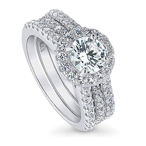 BERRICLE Rhodium Plated Sterling Silver Round Cubic Zirconia CZ Halo Engagement Wedding Insert Ring Set 2.08 CTW Size 6