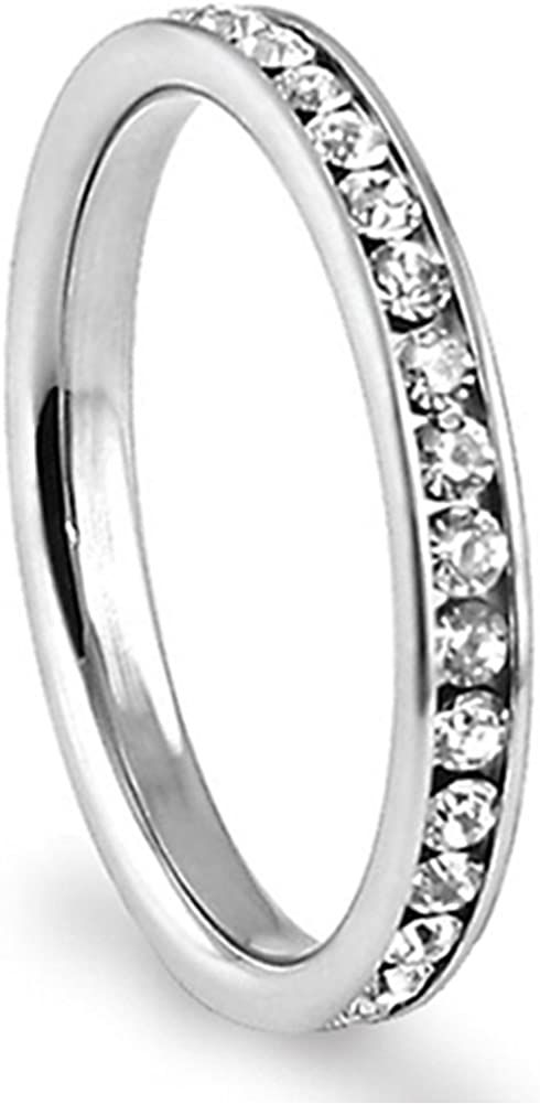 Metal Factory 316L Stainless Steel White Cubic Zirconia CZ Eternity Wedding 3MM Band Ring up to Size 12 Comes Box
