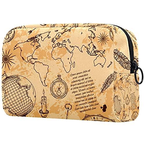 Bolso de Cosméticos de Viaje Explorar el Mundo Bolsa de Lavar Portátil Organizador de Cosméticos Impresión Billetera Pequeña para Mujeres Niñas Niños 18.5x7.5x13cm